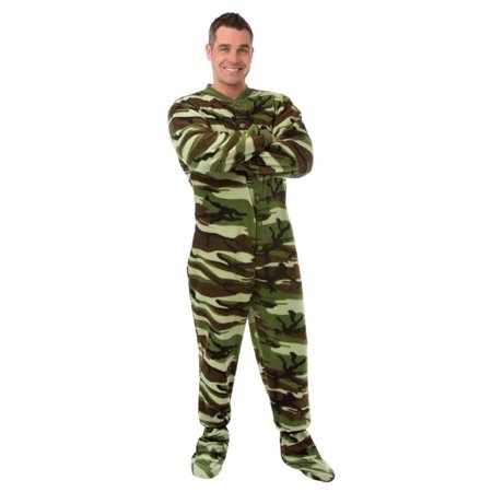 Big Feet Pjs Green Camo Micro-polar Fleece Adult Footed Pajamas Onesie with Drop Seat