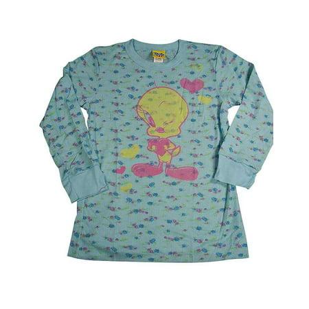 Junk Food - Big Girls Long Sleeve Floral Thermal with Tweety Bird Tee Shirt Blue / 14 - Kids Tweety Bird