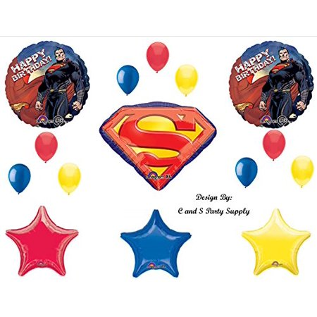 NEW SUPERMAN Man of Steel Super Hero Happy Birthday PARTY Balloons Decorations - Superman Balloon
