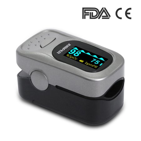 JUMPER 500A Fingertip Pulse Oximeter Oximetry Blood Oxygen Saturation Monitor Heart Rate Monitor Pulse Oximeter for Sports Home Health Care with Carrying Case Batteries and Lanyard, Silver