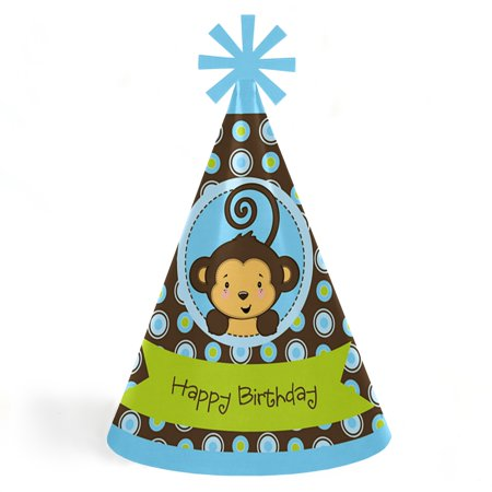 Monkey Boy - Cone Happy Birthday Party Hats for Kids and Adults - Set of 8 (Standard