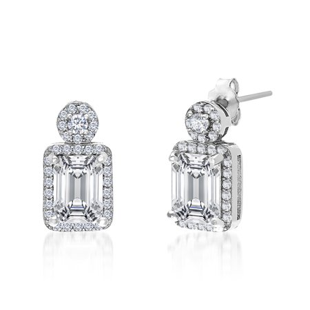 18K White Gold Sterling Silver  Cubic Zirconia Disc and Baguette Post Earrings