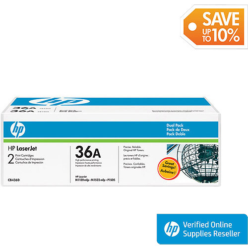 HP 36A (CB436D) Black Original Laser Jet Toner Cartridges, 2pack