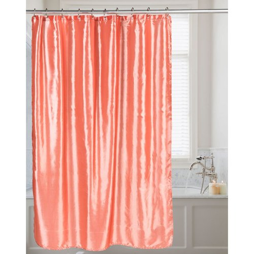 Carnation Shimmer Faux-Silk Shower Curtain - Salmon