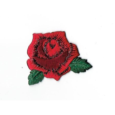 Iron Leaf (Small Red Rose - Open Flower Petals and Leaves - Iron on Applique/Embroidered Patch )