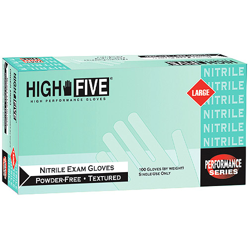Nitrile Exam Gloves Large, 200 Count Case by High Five
