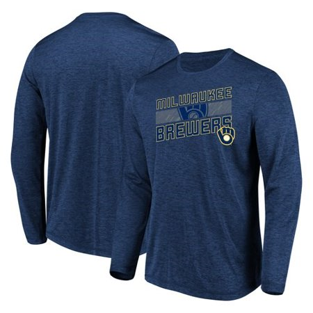 Men's Majestic Heathered Navy Milwaukee Brewers Big & Tall Long Sleeve Team T-Shirt