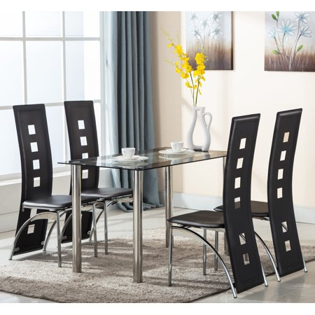 Mecor Dining Table Set With 4 Leather Chairs Kitchen Furniture Black 5 Piece Gl