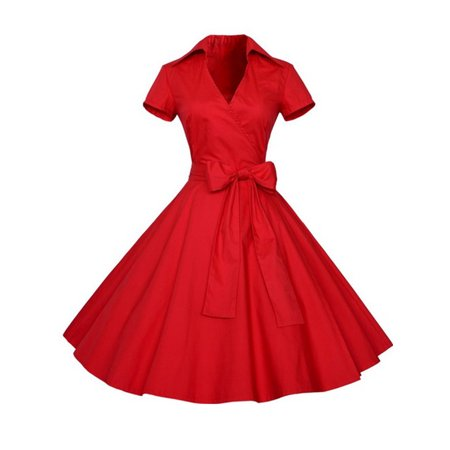 Women Vintage Style 50'S 60'S Swing Pinup Retro casual Housewife Party Ball Fashion (50's Style Clothing)