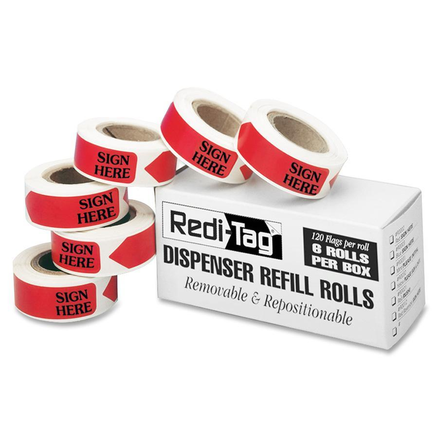 Redi-Tag, RTG91002, Sign Here Arrow Flags Dispenser Refills, 120 / Box, Red