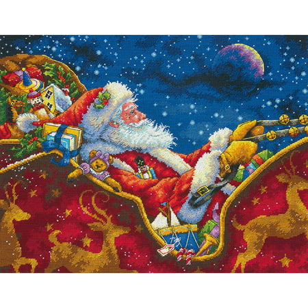 Gold Cross Stitch Kit (Gold Collection Santa's Midnight Ride Counted Cross-Stitch Kit, 14