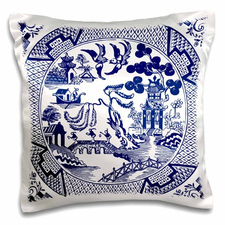 English Blue Willow - 3dRose Willow Pattern Detail in Blue and White - Pillow Case, 16 by 16-inch