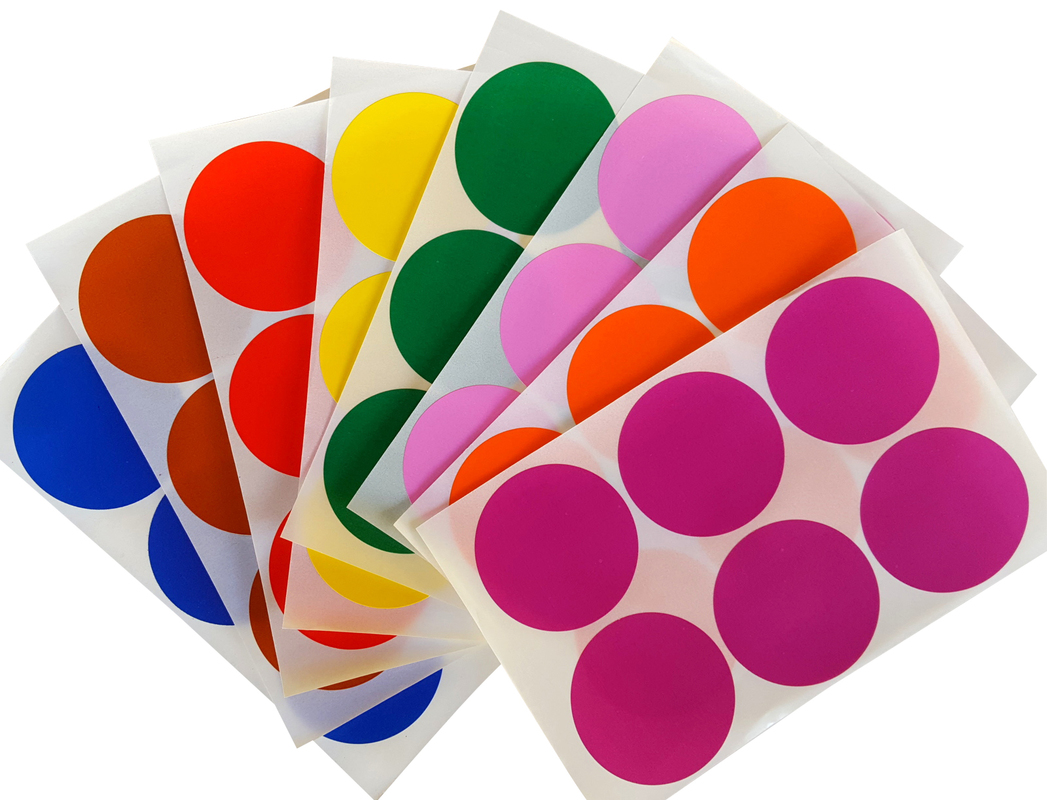 Round 2 inch sticker 50mm dot labels colored circle stickers permanent adhesive