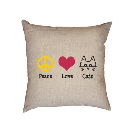 Peace Love Cats - Cat Lover Graphic Design Decorative Linen Throw Cushion Pillow Case with Insert ()