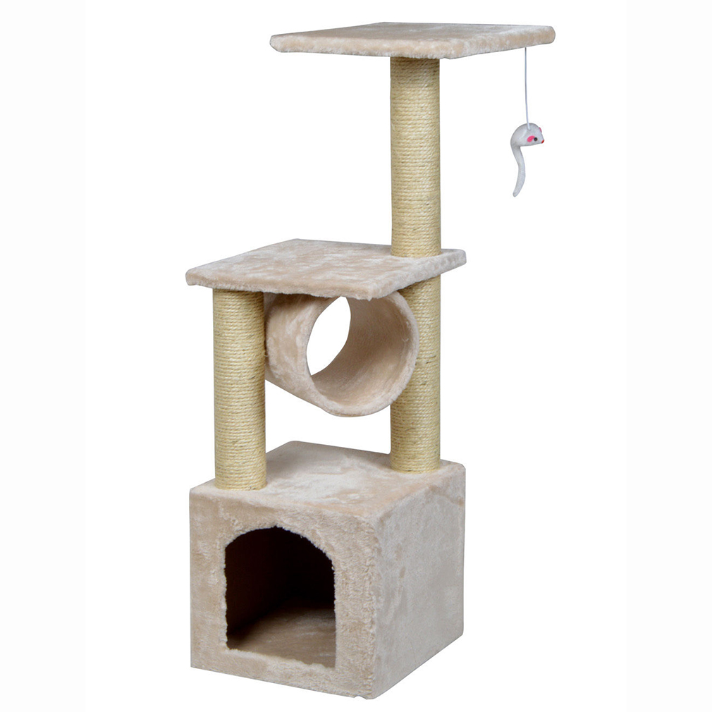 beige cat tree condo furniture scratching post kitten pet play toy house