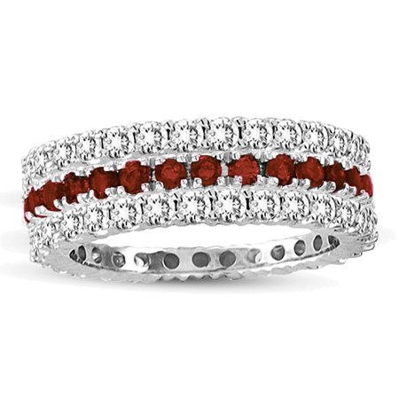 14k White Gold Ruby Diamond 3-piece Eternity Band Ring Set