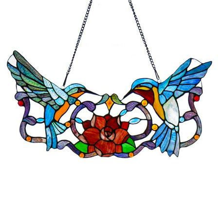 River of Goods Stained Glass Hummingbird Floral Window Panel