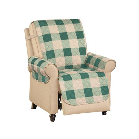 Buffalo Check Plaid Reversible Furniture Protector - Securing Elastic Straps and Machine Washable, Recliner, Green