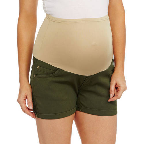 Maternity Full-Panel Stretch Twill Shorts by