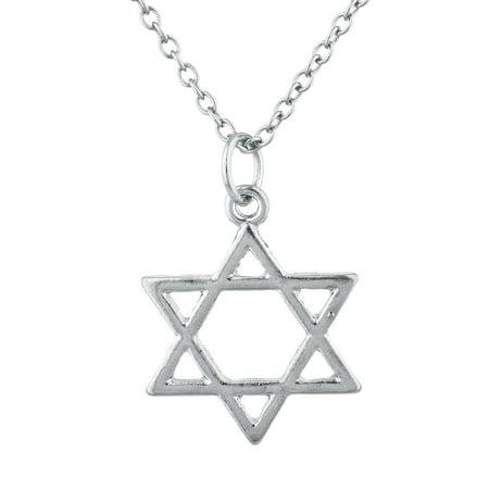 Lux Accessories Silver Tone Star of David Hanukkah Jewish Charm Pendant Necklace