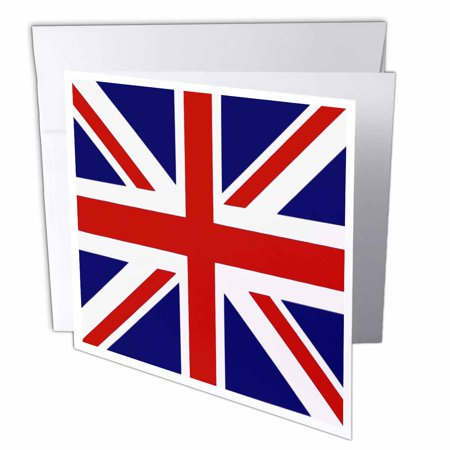Souvenir Card Paper (3dRose British Flag - red white blue Union Jack Great Britain United Kingdom UK England English souvenir GB, Greeting Cards, 6 x 6 inches, set of 6)