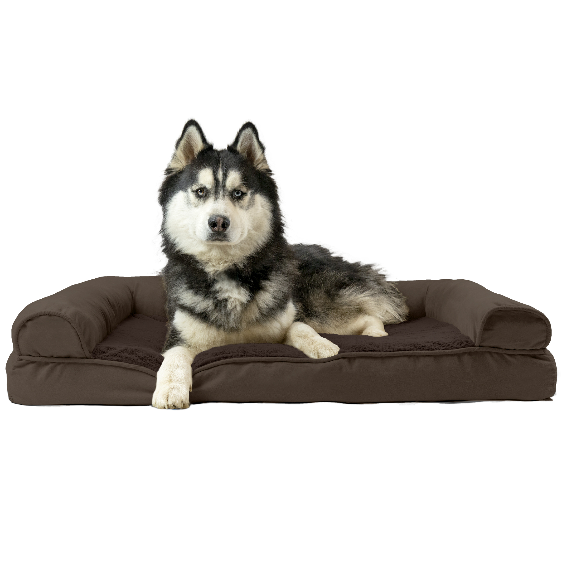 FurHaven Pet Dog Bed | Cooling Gel Memory Foam Orthopedic Ultra-Plush Sofa-Style Couch Pet Bed for Dogs & Cats, Espresso, Jumbo