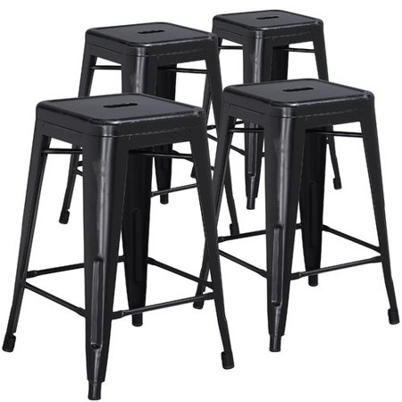 Metal Black Counter Stools - Flash Furniture 4pk 24'' High Backless Distressed Metal Indoor Counter Height Stool, Multiple Colors
