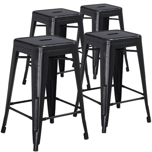Flash Furniture 4pk 24'' High Backless Distressed Metal Indoor Counter Height Stool, Multiple Colors