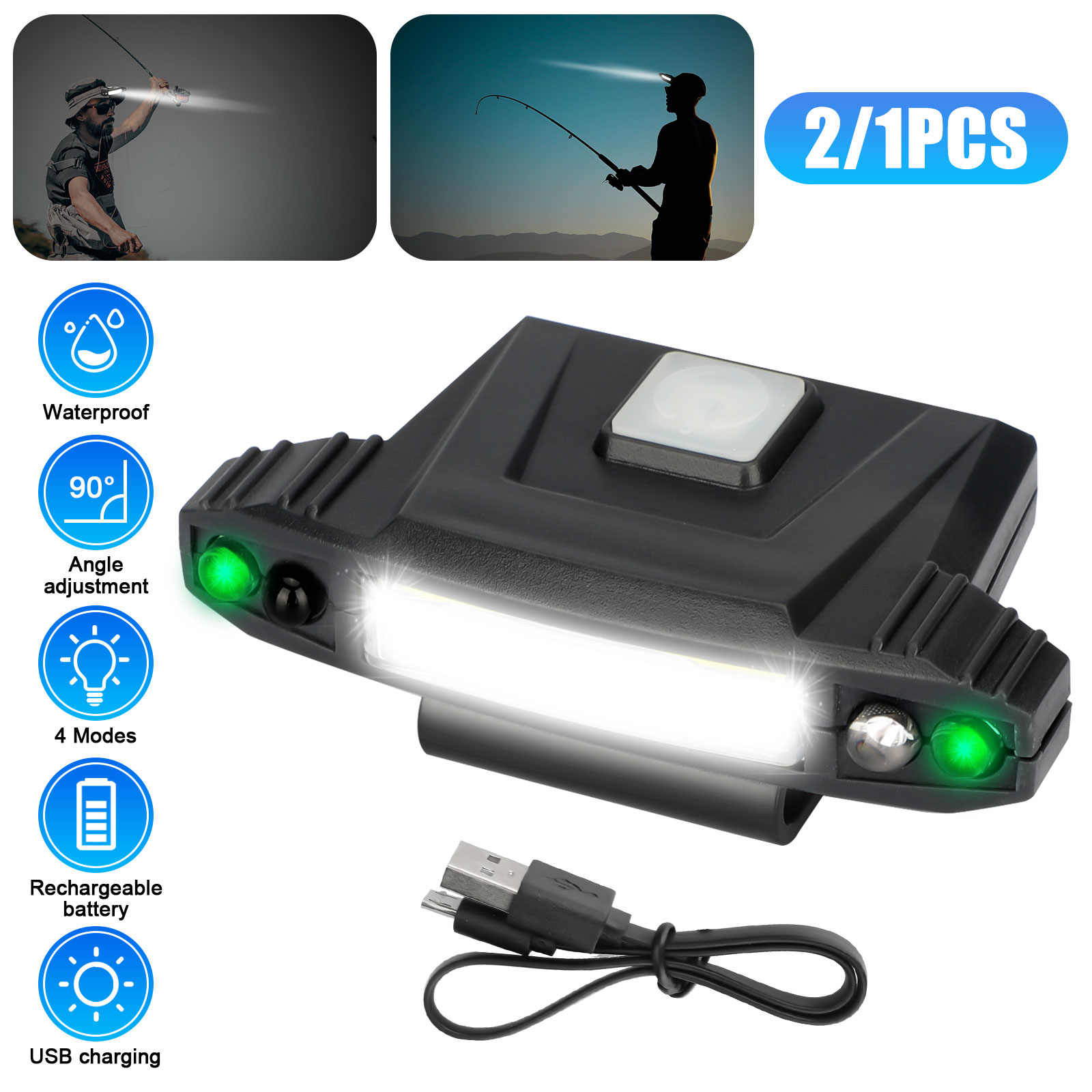USB LED Headlamp Clip Cap Hat Light Head Torch Fishing Camp Rechargeable Lamp