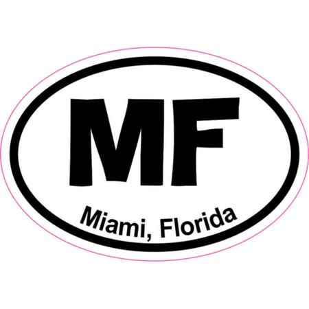 3in x 2in oval mf miami sticker vinyl florida city vehicle bumper stickers