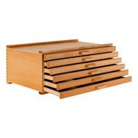 U.S. Art Supply 6 Drawer Wood Artist Supply Storage Box - Pastels, Pencils, Pens, Markers, Brushes