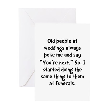 Halloween Cards For Old People (CafePress - Old People Funerals - Greeting Card, Blank Inside)