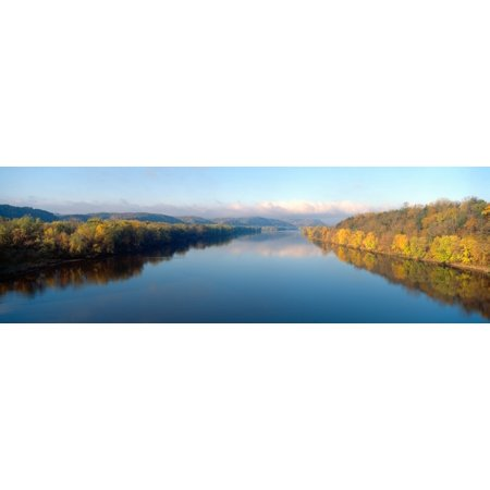 Wisconsin River and Prairie de Chen with Autumn colors Wisconsin Stretched Canvas - Panoramic Images (27 x (Wisconsin Pleasant Prairie)
