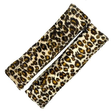 LavoHome Soft Plush Seat Shoulder Belt Pads with Velcro Strap-Leopard Print,One