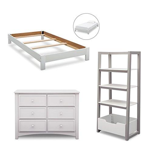 Delta Children Summit Twin Bedroom 3-Piece Set (Twin Platform Bed, Dresser, Ladder Shelf), Bianca White by Delta Children