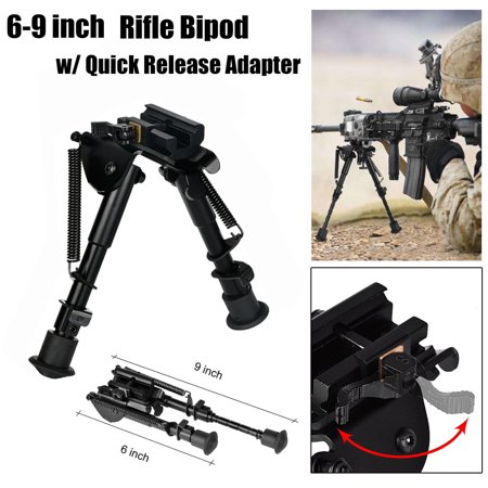 CVLIFE 6-9 Inches Rifle Bipod Spring Return w/ 20mm Picatinny Rail Quick Release Mount Adapter