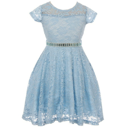 Little Girl Cap Sleeve Lace Skater Stone Belt Flower Girls Dresses (19JK88S) Blue 2 - Blue Girls Dress
