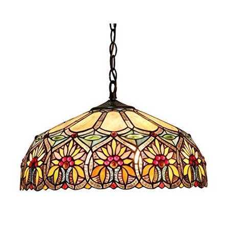 Chloe Lighting Sunny Tiffany Style 2 Light Floral Ceiling Pendant Fixture With 18 Shade