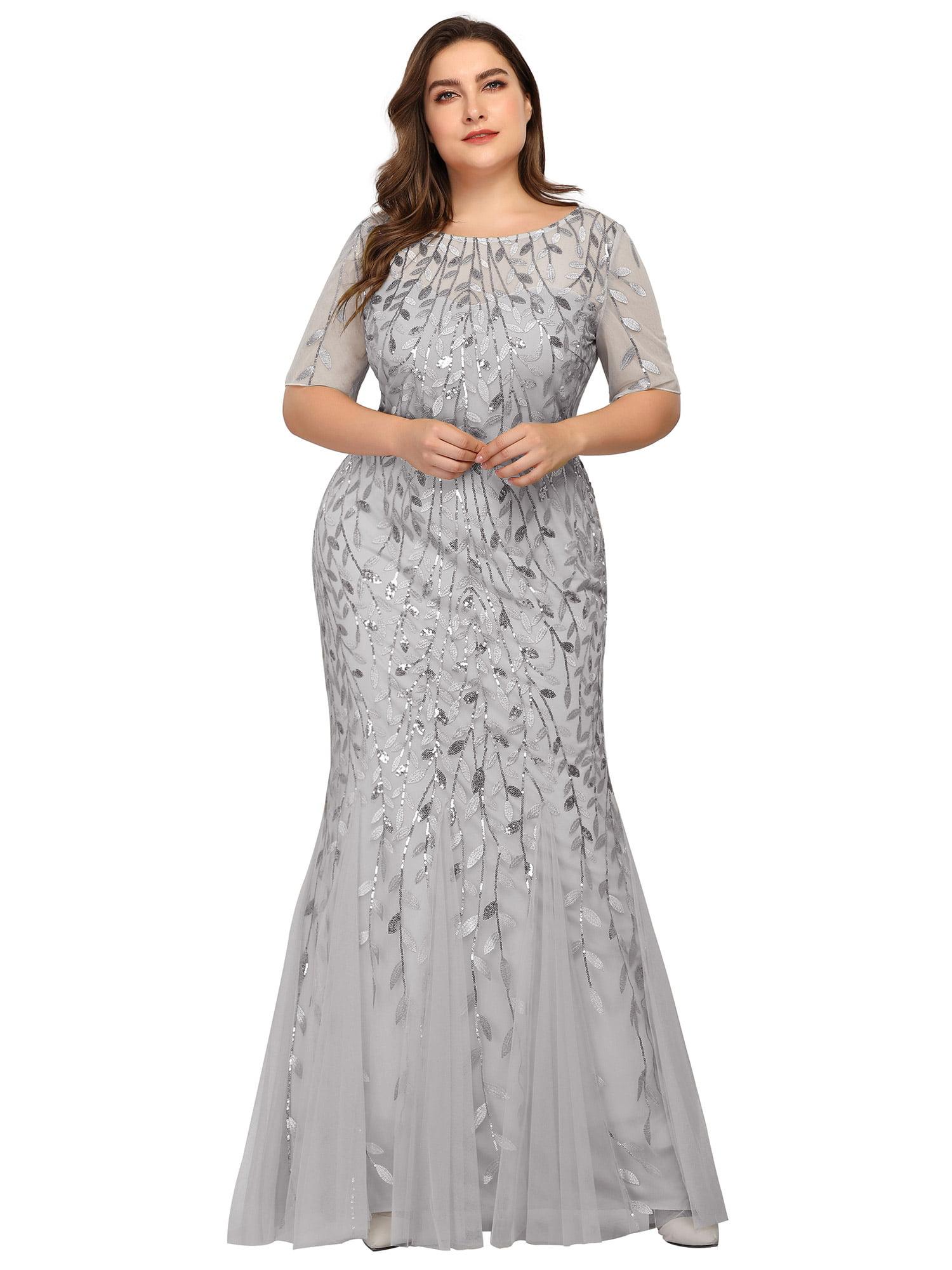Ever Pretty Womens Elegant Plus Size Long Wedding Guest Dresses for Women  20 Silver US20