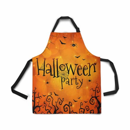ASHLEIGH Adjustable Bib Apron for Women Men Girls Chef with Pockets Halloween Party Orange Novelty Kitchen Apron for Cooking Baking Gardening Pet Grooming Cleaning