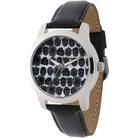 Comics Men's Captain America, Black Widow, Hulk, Ant-Man, Falcon, Wasp, Thor, Hawkeye, Black Panther, Iron Man Silver Alloy Watch, Black Leather Strap - Falcons Black Leather