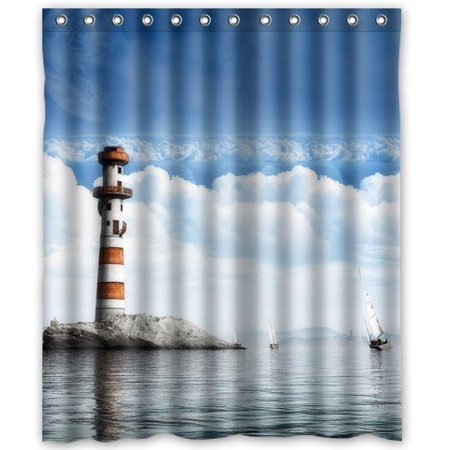 GreenDecor Lighthouse Waterproof Shower Curtain Set With Hooks Bathroom Accessories Size 60x72 Inches