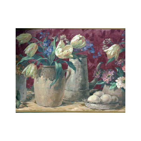 5507150 Watering Cans Floral Wallpaper Border, Brown, Prepasted By Waverly From USA