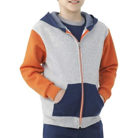 - Boys' Explorer Fleece Super Soft Zip Hoodie with Contrast Sleeves