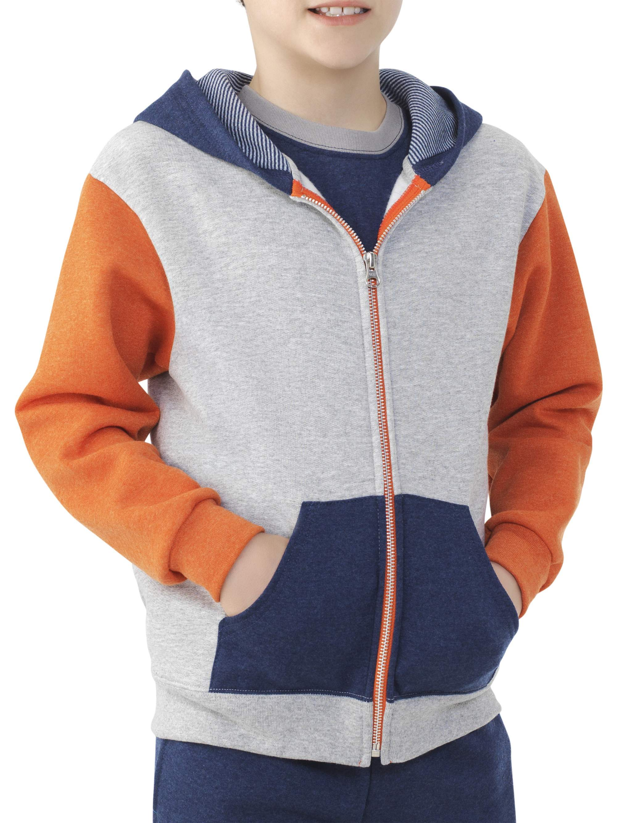 Boys' Explorer Fleece Super Soft Zip Hoodie with Contrast Sleeves