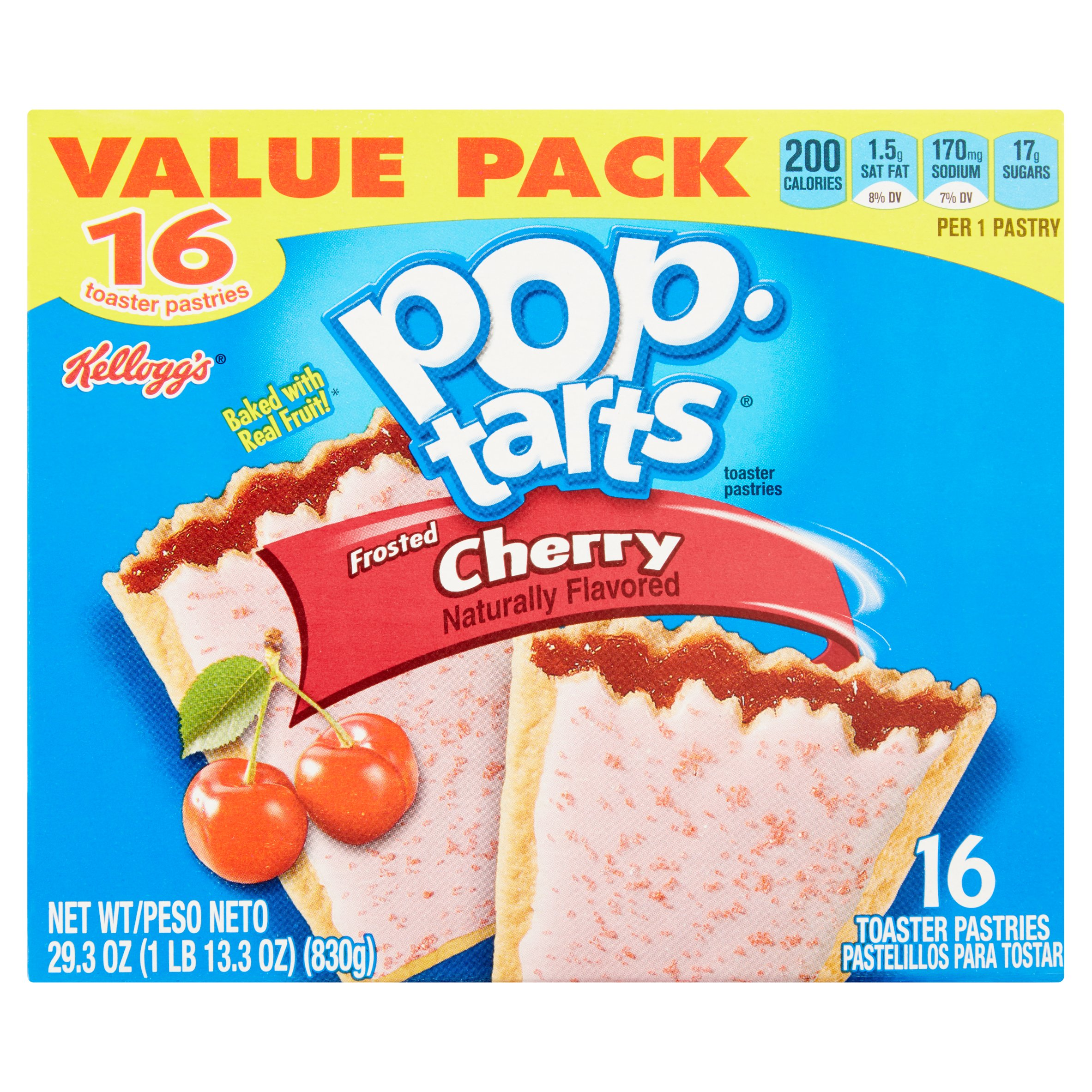 Kellogg's Pop - Tarts Frosted Cherry 16 Toaster Pastries Value Pack 29.3 oz