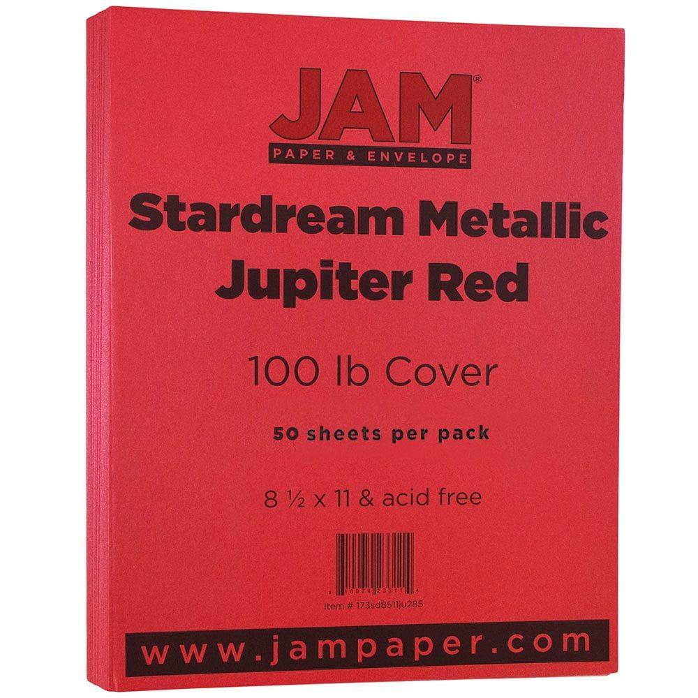 "JAM Paper Metallic Cardstock, 8.5"" x 11"" 110lb Stardream Jupiter Red, 50 Sheets/Pack"