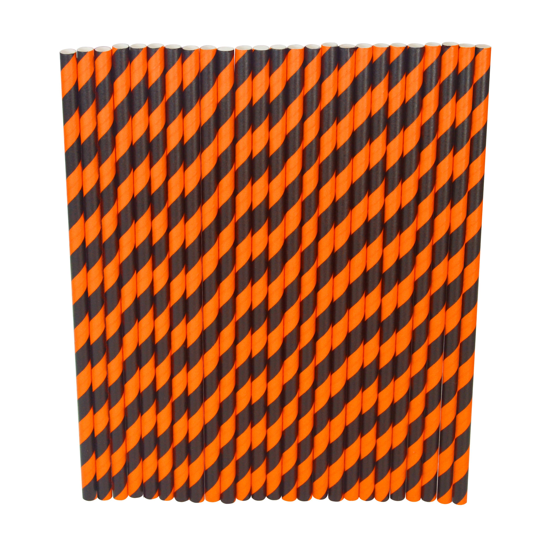 Halloween Paper Straw - Black And Orange