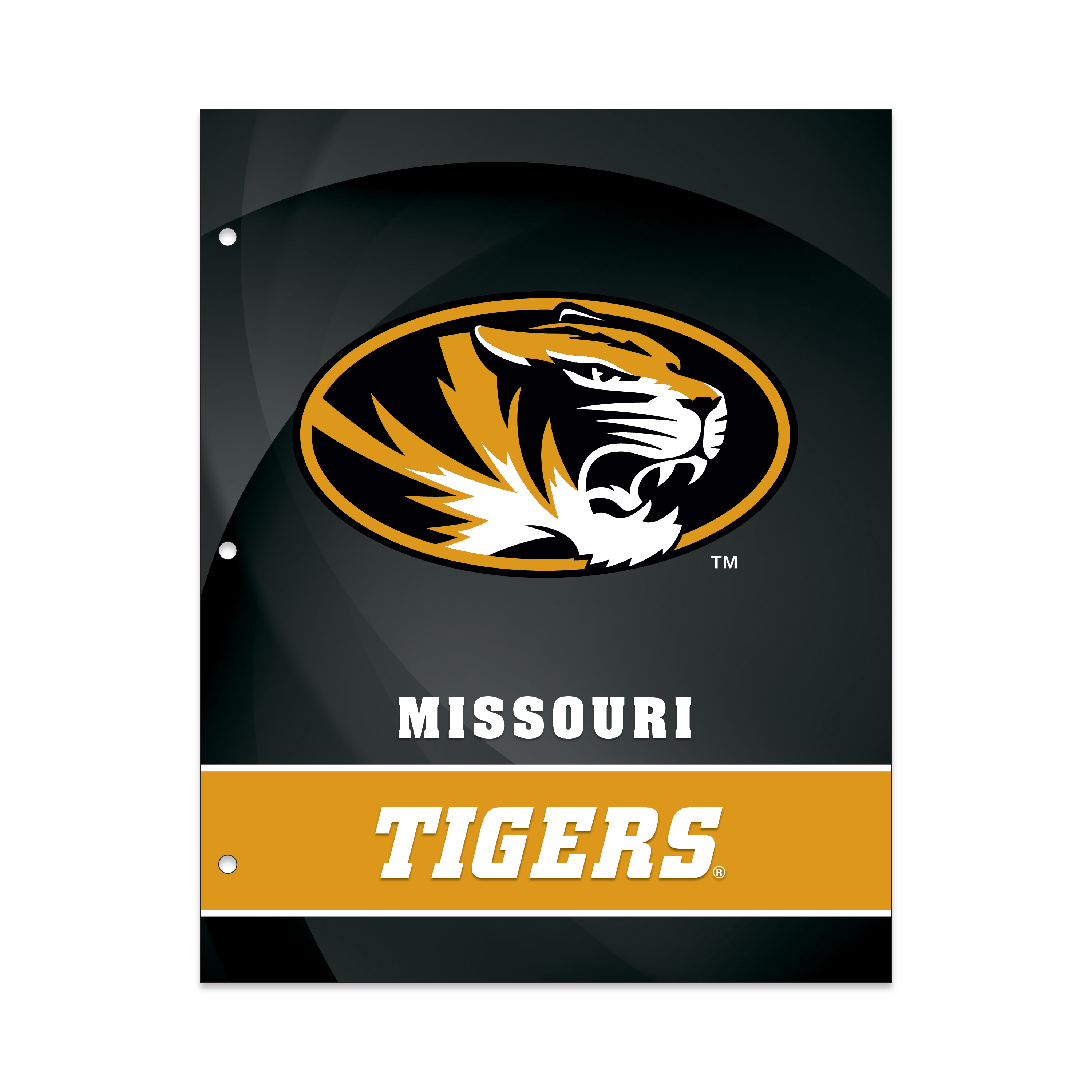NCAA Missouri Tigers 2 Pocket Portfolio, Three Hole Punched, Fits Letter Size