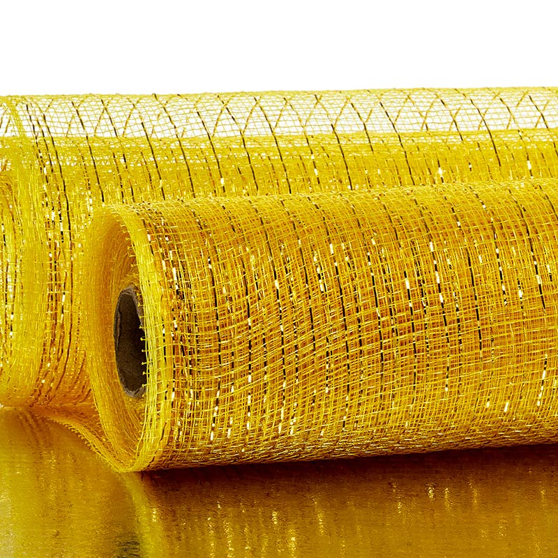 "21"" X 10 Yards Gold Deco Mesh W/Metallic Stripe by Paper Mart"